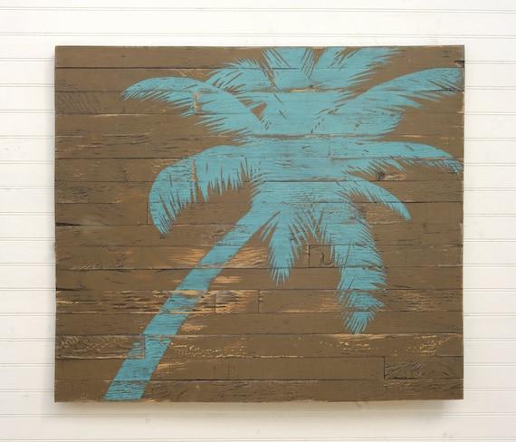 Wooden Beach Wall Decor : Pallet palm tree wooden beach wall decor boho rustic