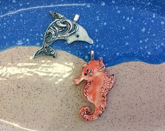 Handcrafted sea life pottery pendants