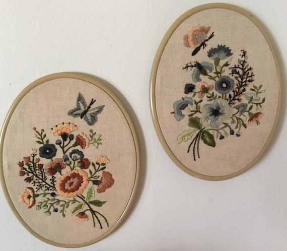Vintage floral embroidery hoops
