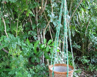 Jute Green 53 Inch No Beads Macrame Plant Hanger
