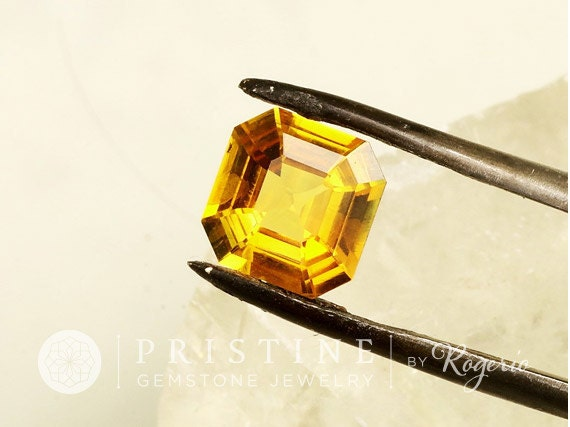 Asscher Cut Yellow Sapphire for Engagement Ring Anniversary