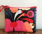 Handmade Marimekko Finland Pikku Tuppurainen oil cloth fabric coin purse, super cute black and red, Christmas