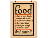 "Kitchen Art Print ""Food"" Vintage Poster Reproduction"