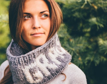 Grace Loop/Cowl/Scarf - Grey and Cream