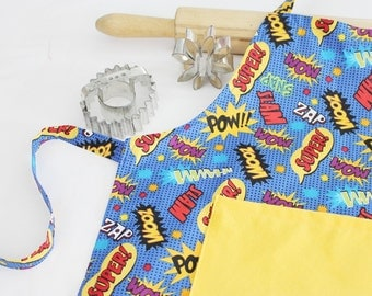 Superhero Child Apron with yellow pocket