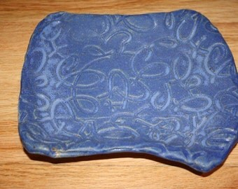 Blue loop design tray, handmade pottery tray, serving dish