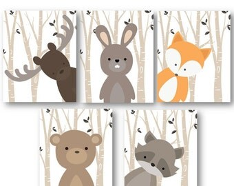 Woodland Nursery Decor - Woodland Nursery Art - Baby Boy Decor - Forest Animals Nursery - Animal Nursery - Animal Wall Art - PRINTS ONLY