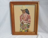 Original Latin American Lady Painting Folk Art Signed Va Hudgins 65' 1965 Framed