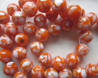 Orange Mother of Pearl Shell and Resin Round Beads 12mm 14 Beads