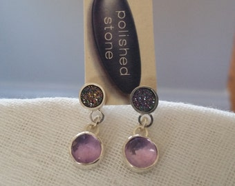 Faceted Amethyst, Titanium Druzy Sterling Silver Stud Ear-rings Handmade
