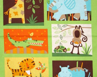 Sale Jungle Animals Panel 24 by 44 inches Jungle Bunch Monkeys Alligator Giraffe Lion Hippo Quilt Fabric Wall Hanging