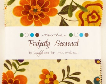 SALE Fall Charm Pack Perfectly Seasoned Sandy Gervais Moda Fabrics Five Inch PreCut Squares Autumn Brown Orange Teal Ivory Flowers