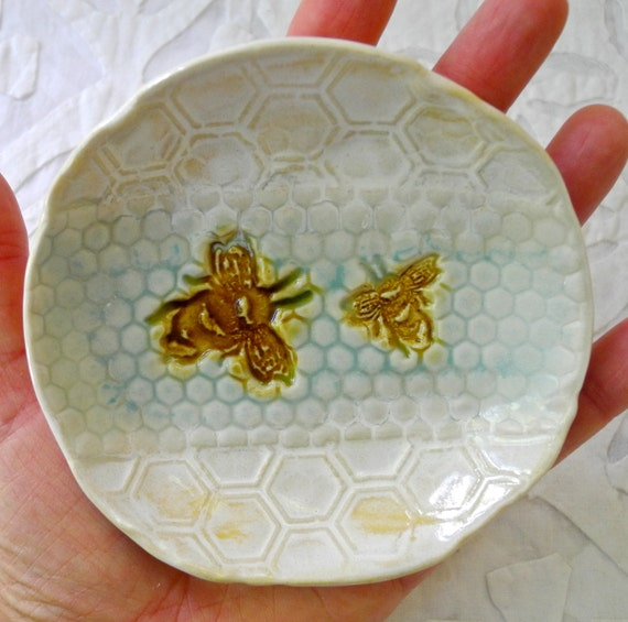Bee ring bowl, Honey Bee Ring dish, ring Holder, Honeycomb, Save the Bees, aqua gold, Hostess Gift, Spoon Rest, Small plate, ring dish