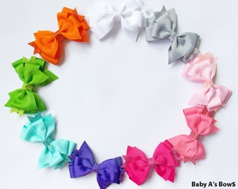 Solid Glitter Pinwheel Hair Bow - Glitter Bow, Glitter Hair Bow, Solid Hair Bow, Pinwheel Hair Bow, Bow Set, Girls Hair Bow, Basic Bow