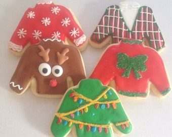 Ugly Christmas Sweater Cookies, holiday cookies, Christmas cookie, christmas party, cookie exchange, Christmas Favors, ugly Christmas