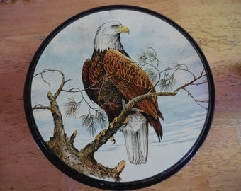 Vintage Black Round Tin Storage Sewing American Bald Eagle Bird on Branch 1960s to 1980s Container Woodland