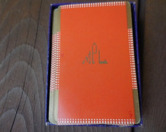 Vintage 1930s to 1940s Orange and Gold Atlantic Playing Cards Full Deck With Monogram MPL