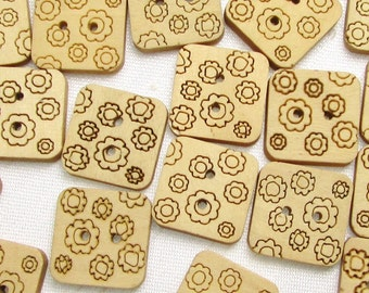 """Flowered Squares: 5/8"""" (15mm) Lightweight Wood Buttons - Set of 35 New / Unused Buttons"""