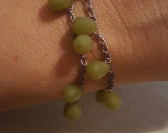 Faceted Peridot Crocheted Wrap Bracelet or Necklace