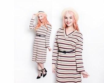 Vintage 1970s Dress - Knit Striped Long Sleeved Designer Day Dress 70 - Large
