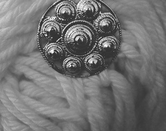 Vintage silver flower brooch, southwest style, scarf pin, wear to work, date night, bohemian, boho, coachella, scarf clip, lightweight