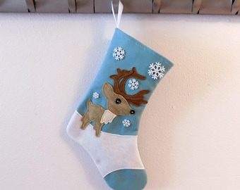 Antlered Reindeer Personalized Christmas Stocking by Allenbrite Studio