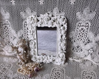 Shabby French Country mirror, small mirror, creamy white, carved look, ornate rectangle