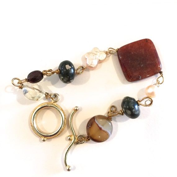 Red Jasper, Sardonyx, Rainforest jasper/Rhyolite , Citrine, Gold, Etsy Jewelry, Lilyb444