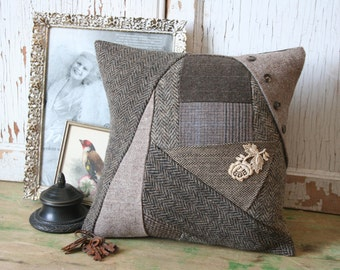 Wool Patchwork Pillow Cover - Brown Herringbone, Recycled Tweed, 12 Inch - FREE SHIPPING