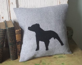 Pitbull Pillow Cover - Black Silhouette, Gray Wool, 14 Inch - FREE SHIPPING