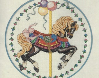 Carousel Prancer by Nancy L King Elsa Williams Counted Cross Stitch Kit 02048 UnOpened Vintage Cross Stitch Kits