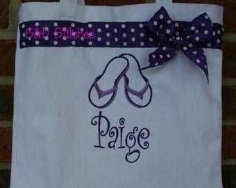 Beach Bag - Personalized - Flip Flops - Summer - Birthday Gift - Beach Towel Bag - Bridesmaid Gift - Flower Girl Gift - Summer