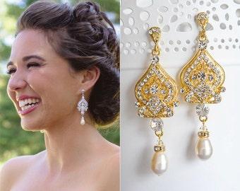 Gold Bridal Earrings, Victorian Style Wedding Earrings, Swarovski Pearl and Rhinestone Chandelier Earrings, Crystal Bridal Jewelry, GRACE