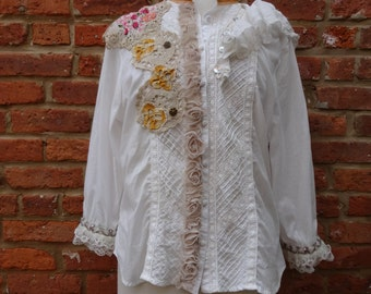 Boho Top,Victorian Top,Shabby Chic Top,Romantic Top,Nine Muses Of Crete