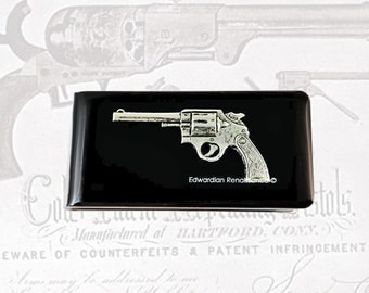 Pistol Money Clip Inlaid in Hand Pianted Black Enamel Steampunk Neo Victorian Revolver Custom Color and Personalized Option