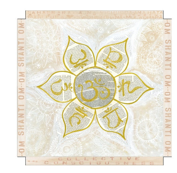 Canvas Print Chakra Symbols in Lotus Flower Collective Consciousness by Lauren Tannehill Art
