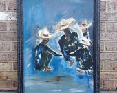 Vintage Original Abstract Oil Painting of Men Dancing in Sombreros Signed  by artist Aida
