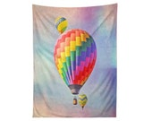 Tapestry Wall Art.  Hot Air Balloons. Whimsical. Pastel. Cute.  Nursery Decor. Children's Room Art. Large Wall Hanging.  Bright. Colorful.
