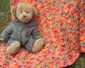 Light Orange Hand Knit Baby Blanket / Afghan