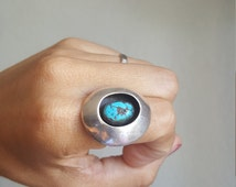 Navajo Shadow Box Morenci Turquoise Ring Size 7.5 Gem Quality Blue Turquoise Signed BC