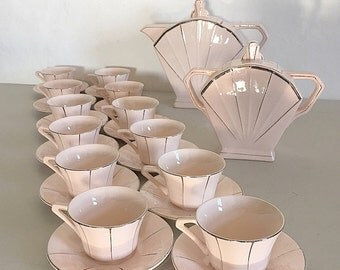 French Art Deco Coffee Set  Pale Pink and Silver, French Antique Coffee Set