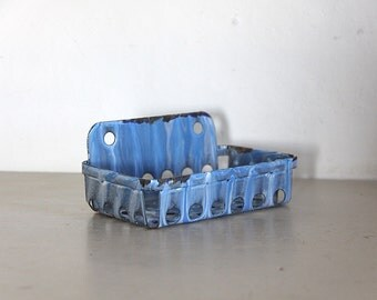 French Enamel Soap Dish Blue and Gray