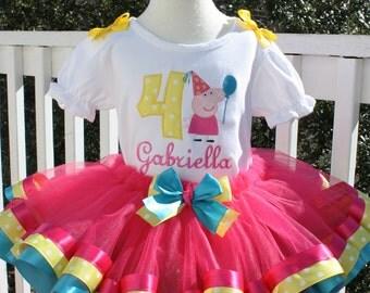Girls Peppa Pig tutu set,,,,,#2, #3, #4, #5....hot pink skirt with hot pink ribbon, then yellow dot ribbon, then turqoise ribbon