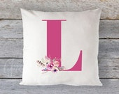 "Pillow Cover 16"" x 16"" - Monogram with Floral Bouquet // Magenta Letter // Baby Girl Nursery Decor // Wild & Free Adventurer"