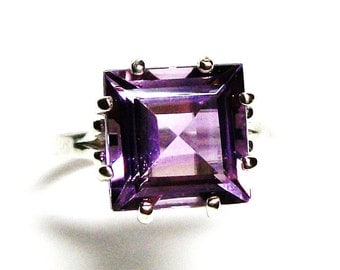 "Amethyst, AAA amethyst, amethyst ring, princess amethyst, engagement ring, birthstone ring,solitaire ring, purple, s 6 1/2   ""Purple Haze"""