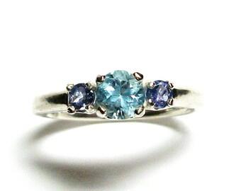 "Aquamarine, aqua tanzy ring, 3 stone ring, teal blue ring, blue birthstones, anniversary ring, s 6 1/2   ""Blue Velvet"""