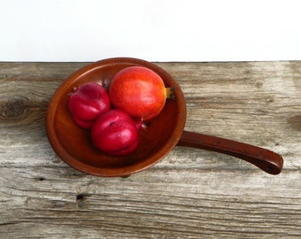 Primitive Munsing Wooden Bowl with Handle Rustic Farmhouse Kitchen Decor 1950s Country Home
