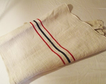French Hemp Linen Natural Classic Stripe Blue Red Vintage Clean 104 in x 22 in