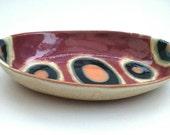Unusual handmade oval dish stoneware ceramics