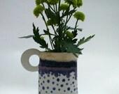 Handmade stoneware jug pitcher vase in spotty dotty indigo